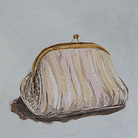 Oil painting golden clutch by Katherine Bennett