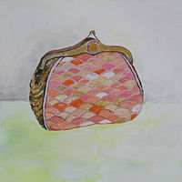 Oil painting orange clutch by Katherine Bennett
