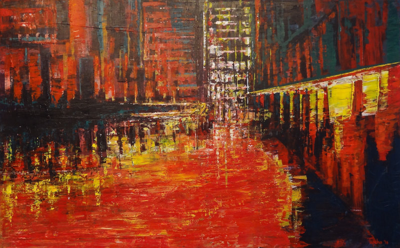 Acrylic painting Red City by David Tycho