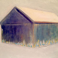 Mixed-media artwork Purple Barn by Sarah Trundle