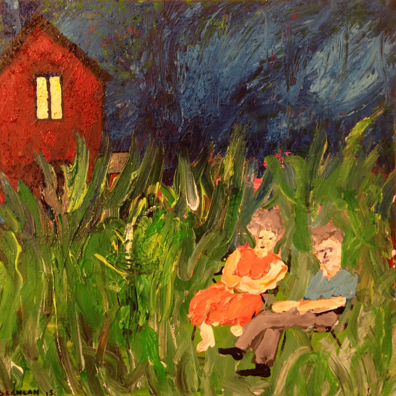 Acrylic painting They Never Cut Their Grass by Bernard Scanlan