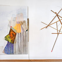 Installation view: Rocks and Climber, (L) Vehicle (R):  (L) Acrylic and red watercolor pencil on canvas, hydrocal cast, metal peg, brass chains, 2016 (R) Wood, pegs, gesso and paint, 20016 by Judy Southerland