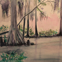 Mixed-media artwork Green Swamp in Pink by Steve Latimer