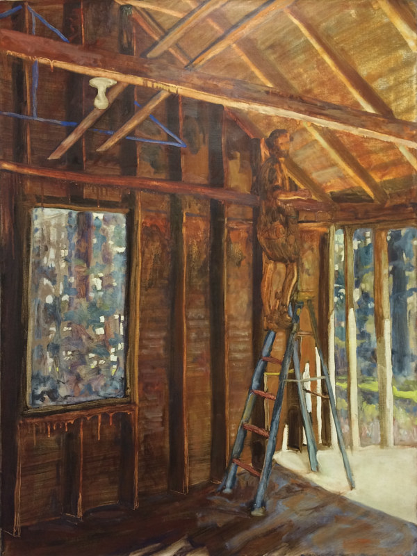 Oil painting Man on Ladder Near Lightbulb by Edward Miller