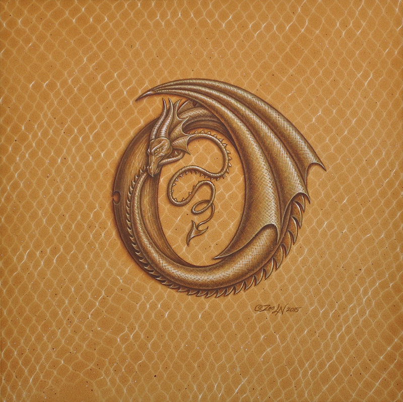 "Acrylic painting Dracoserific letter O, Gold on Raw Gold 8x8"" square by Sue Ellen Brown"