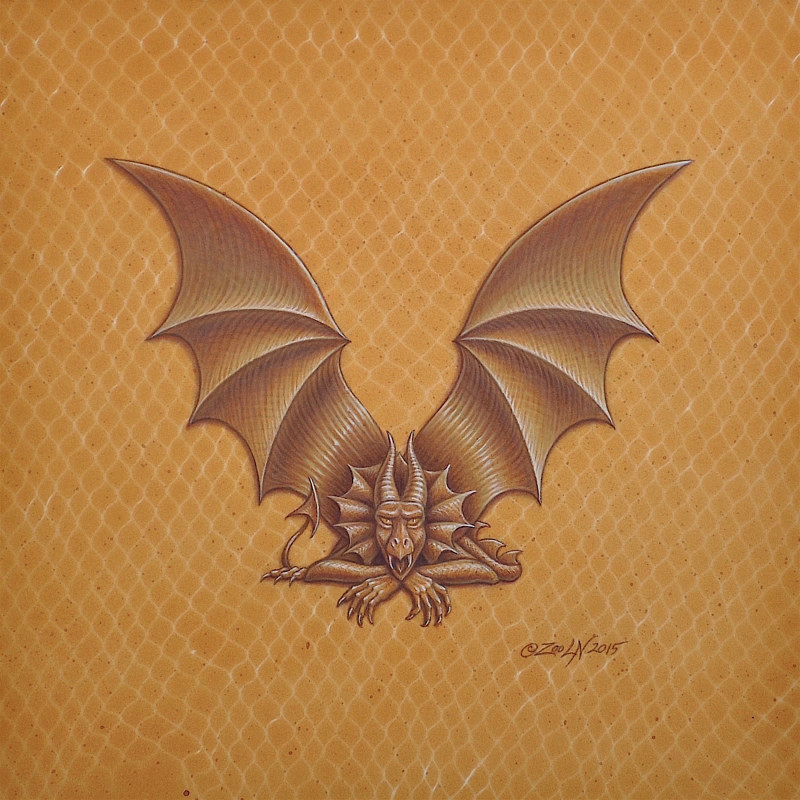 "Acrylic painting Dracoserific letter V, Gold on Raw Gold 8x8"" square by Sue Ellen Brown"