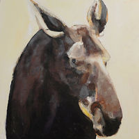 Oil painting Peabody Moosehead, 2016 by Edith dora Rey