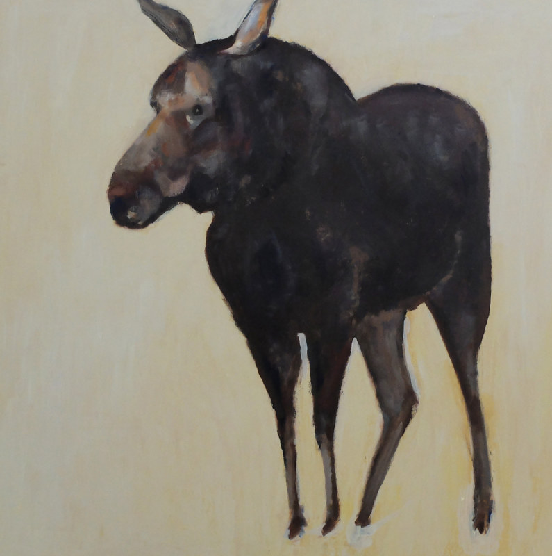 Oil painting Peabody Moose, 2016 by Edith dora Rey