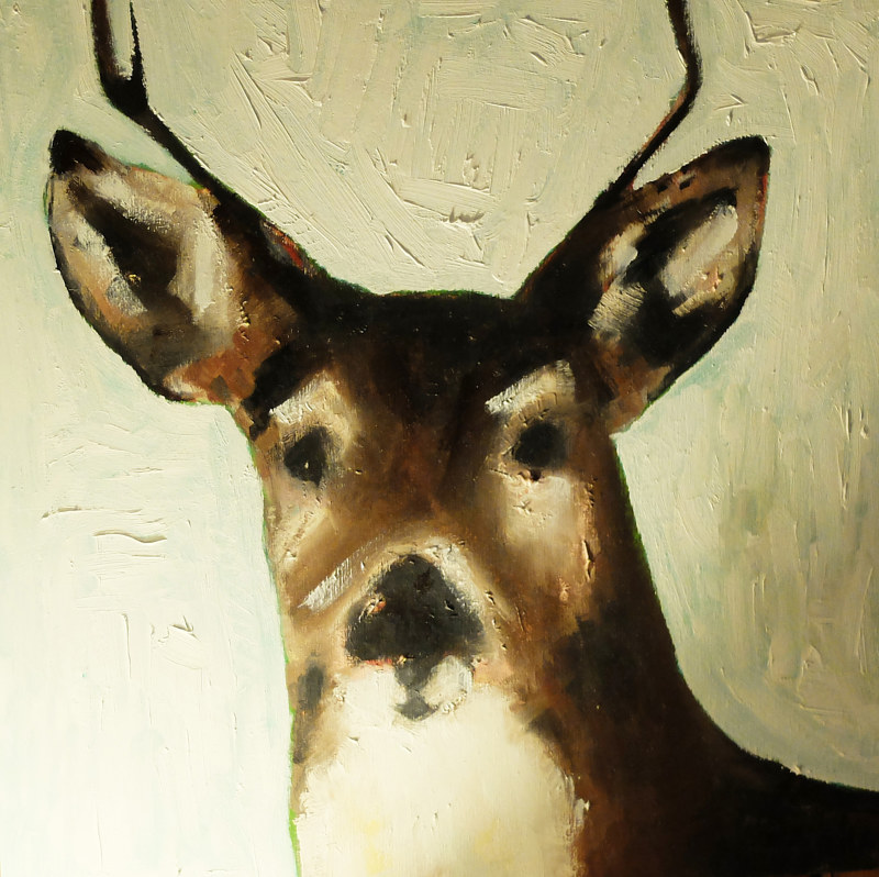 Oil painting Highwater Stag, 2015 by Edith dora Rey