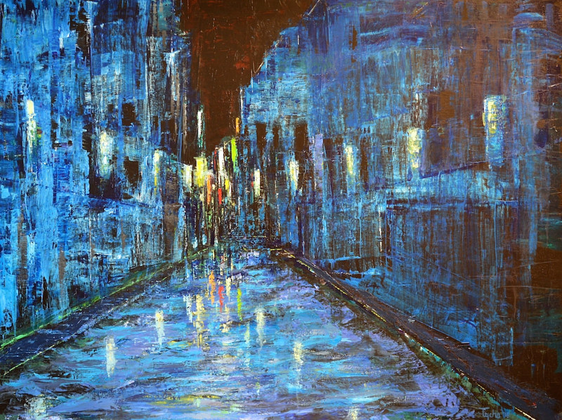 Acrylic painting Blue Street by David Tycho