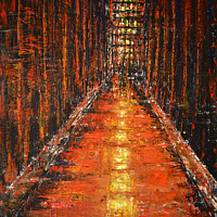 Acrylic painting Alley in Red by David Tycho
