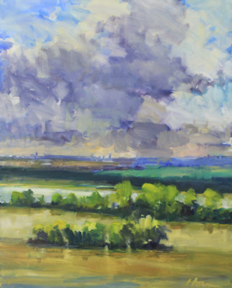 "Painting Schaars Bluff,  Oil on Canvas,  24"" x 36"" by Susan Horn"