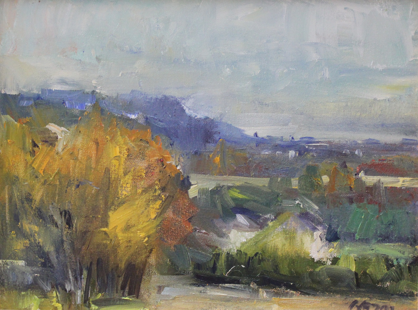 Painting View From Herman Farm, oil on board,   by Susan Horn