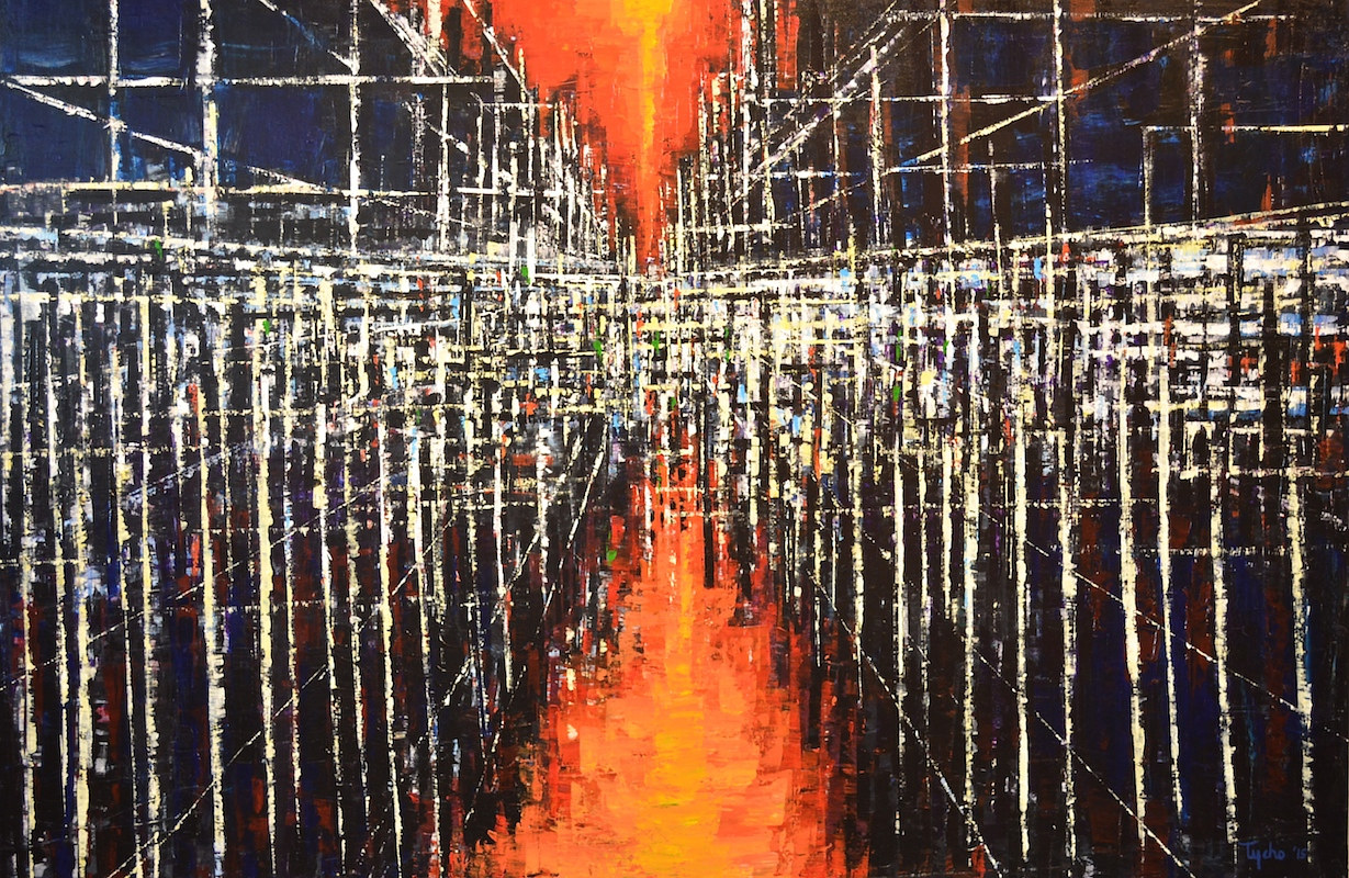 Acrylic painting Urban Matrix #10 by David Tycho