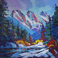 Canmore Winter Day  Acrylic 24x24 2016.jpg2 by Brian  Buckrell