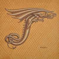 "Acrylic painting Dracoserific letter T-3, Gold on Raw Gold 8x8"" square by Sue Ellen Brown"