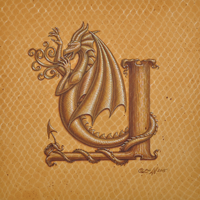 "Acrylic painting Dracoserific letter Y, Gold on Raw Gold 8x8"" square by Sue Ellen Brown"
