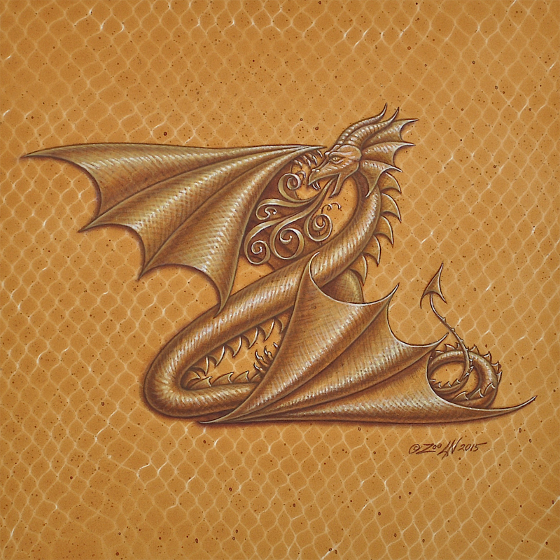 "Acrylic painting Dracoserific letter ""Z""- 2.0, Gold on Raw Gold 8x8"" square by Sue Ellen Brown"