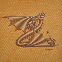 "Acrylic painting Dracoserific letter Z, Gold on Raw Gold 8x8"" square by Sue Ellen Brown"