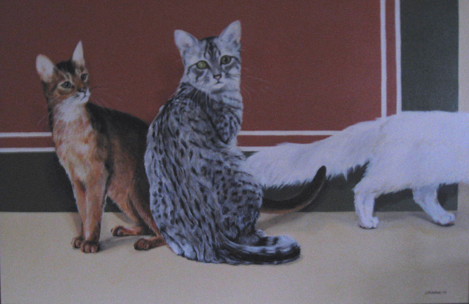 Oil painting Three little kittens by Judith  Elsasser