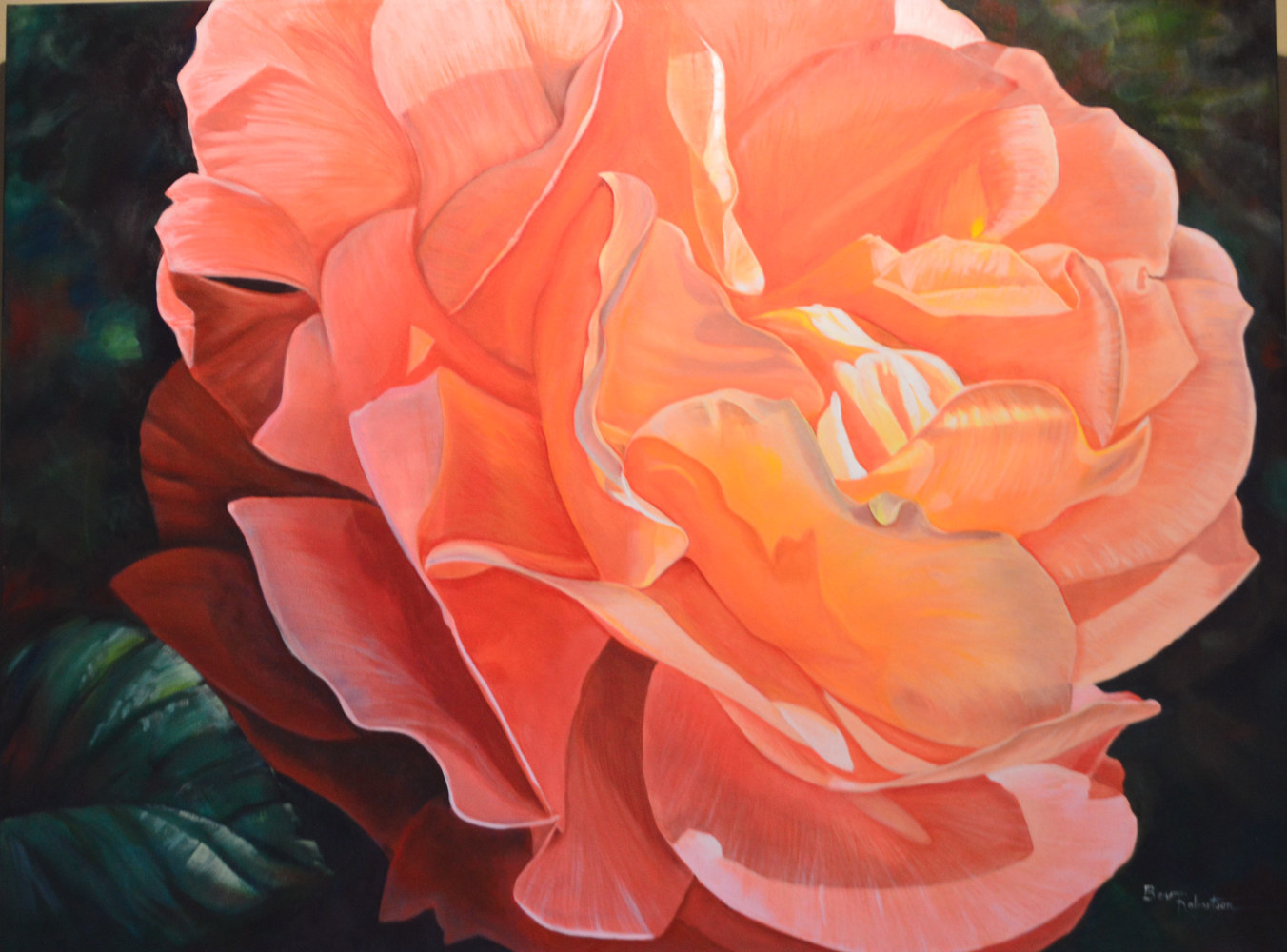 Acrylic painting Rose in the Park by Bev Robertson