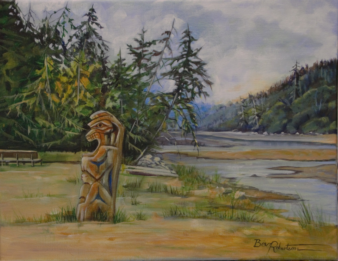 Acrylic painting Totem at Pachina Bay by Bev Robertson