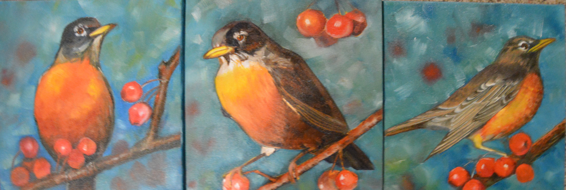 Oil painting Winter Robins I,II,III by Bev Robertson