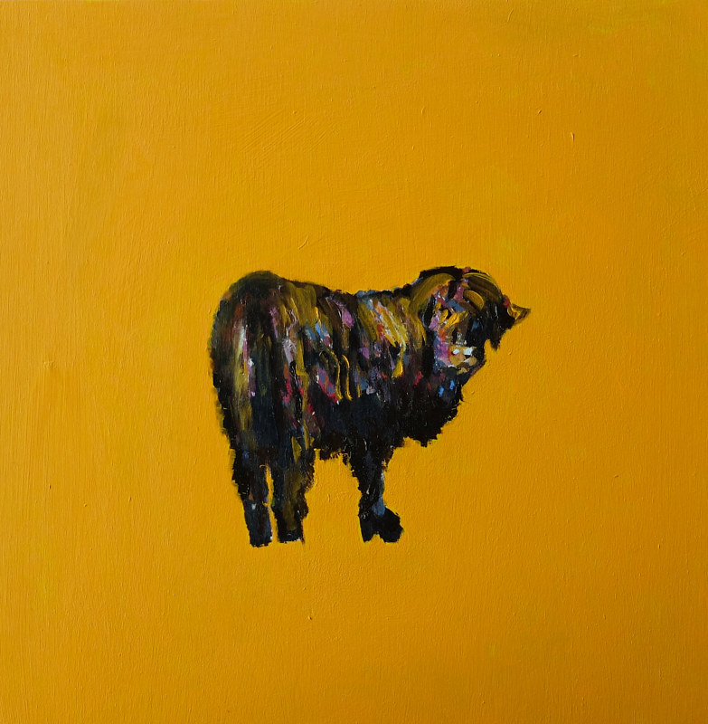 Oil painting The Neighbour's Bull's Friend, 2015 by Edith dora Rey