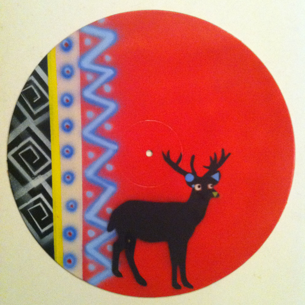 Deer Silhouette  - Painting on Vinyl Record by Mr Mizu by Isaac Carpenter