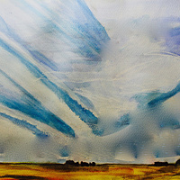 Watercolor Lost Contrails by Steve Latimer