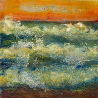 Mixed-media artwork Wavewatch 9 by Sandra  Martin