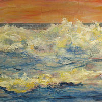 Mixed-media artwork Wavewatch 14 by Sandra  Martin