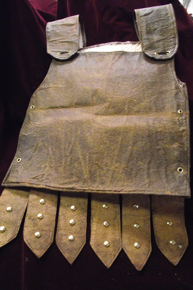"Faux Leather Roman chest plates built for ""Julius Ceasar"" by Kathryn Cover"