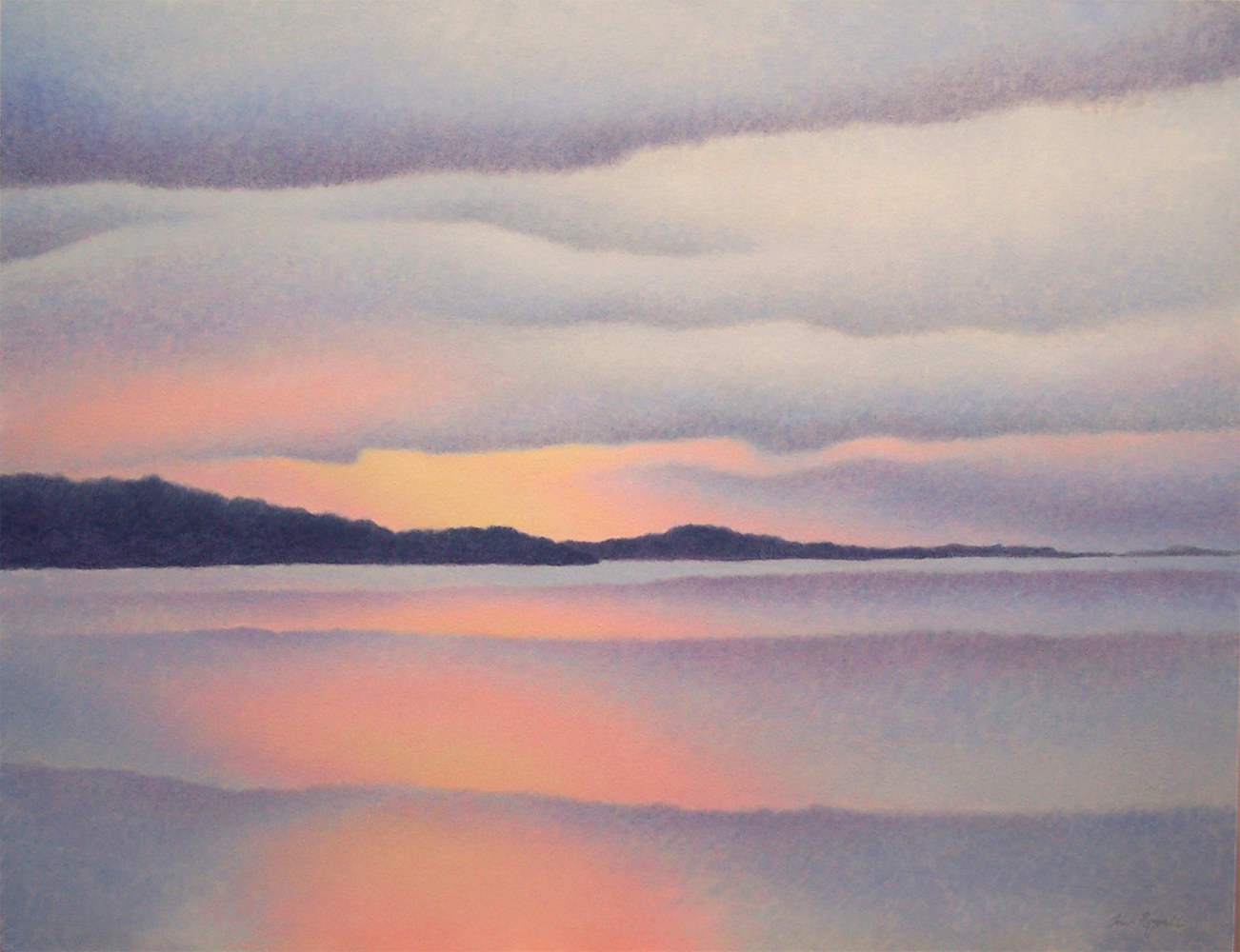 Acrylic painting Ferry Dawn by Anne Popperwell