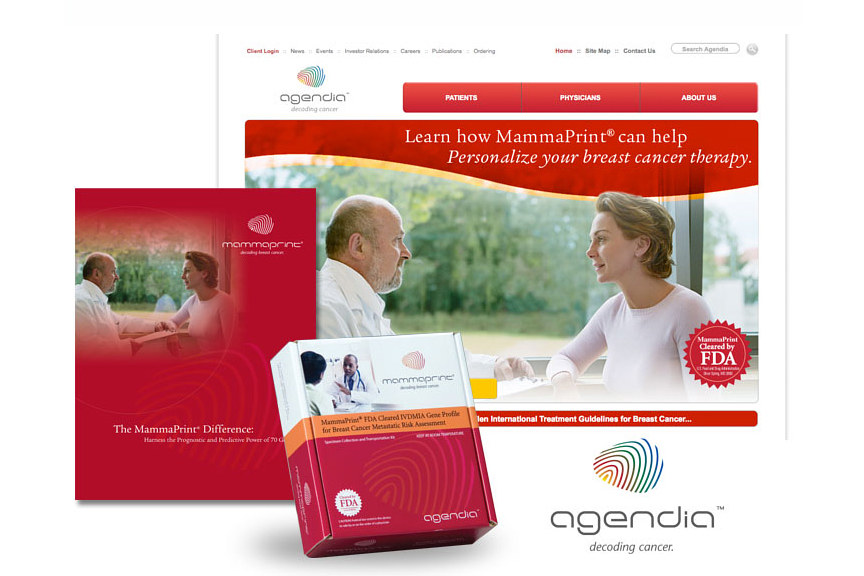 Agendia website with brochure and test kit by Robert Porazinski