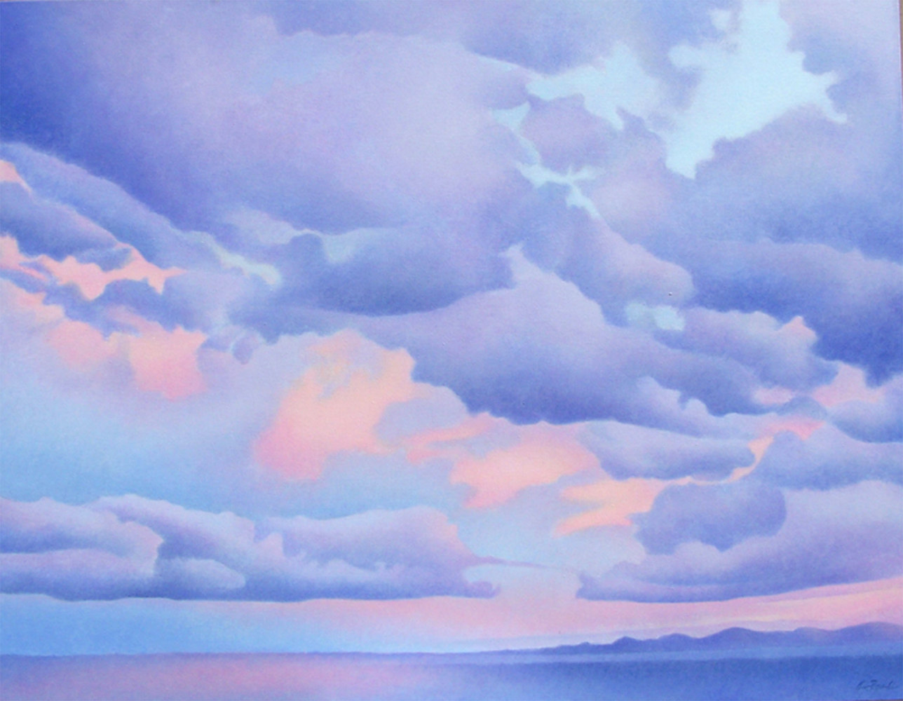 Acrylic painting Lavender Clouds by Anne Popperwell