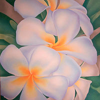 Acrylic painting Plumeria by Anne Popperwell