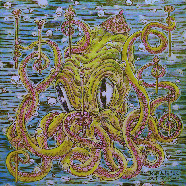 "Acrylic painting ""King Octopus"" by Kenneth M Ruzic"