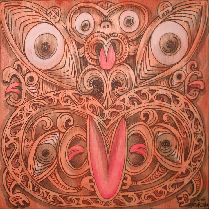 "Acrylic painting ""Maori Mask"" by Kenneth M Ruzic"