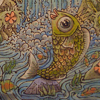 "Acrylic painting ""Song for the Fish King"" by Kenneth M Ruzic"