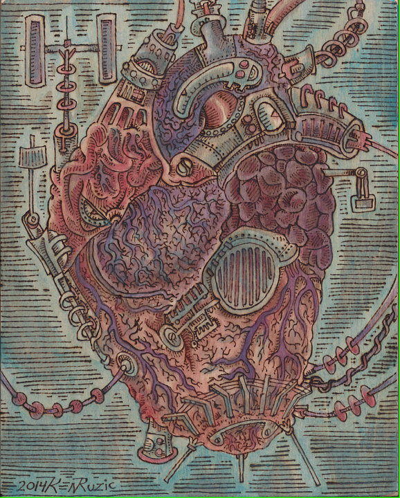 "Acrylic painting ""the Mechanical Heart"" by Kenneth M Ruzic"