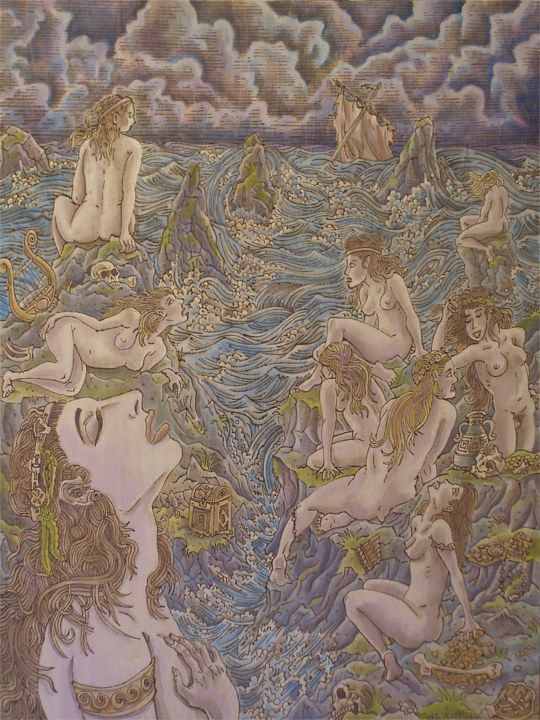 "Acrylic painting ""the Siren's song"" by Kenneth M Ruzic"