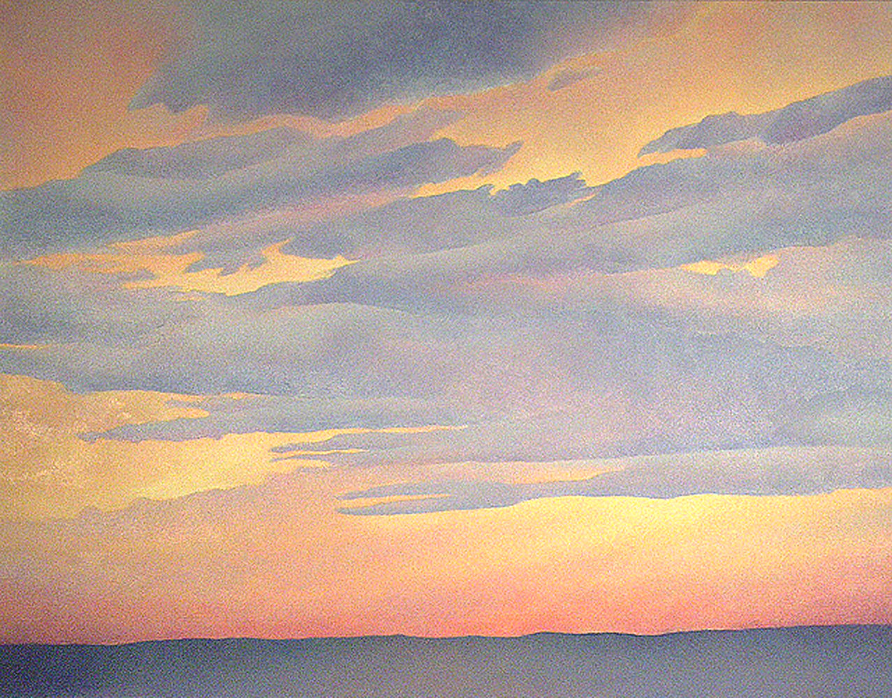 Acrylic painting Mauve Sunset by Anne Popperwell