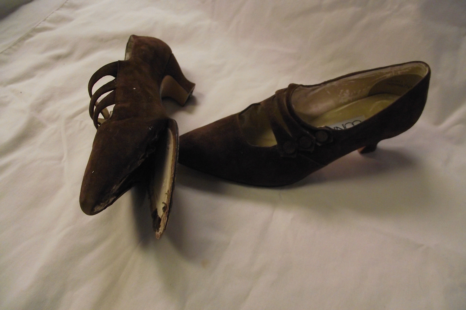Start with inexpensive shoes with manmade soles, suede or cloth. by Kathryn Cover
