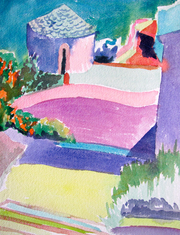 Watercolor Sunlight on Stucco Curves in Skopelos by Michael Shyka