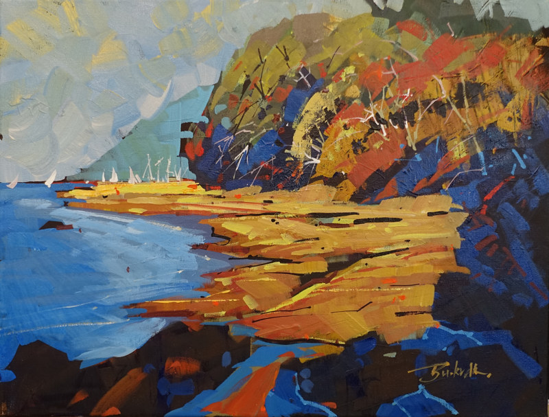 Into Fords Cove Hornby Island Acrylic 18x24 2016 by Brian  Buckrell