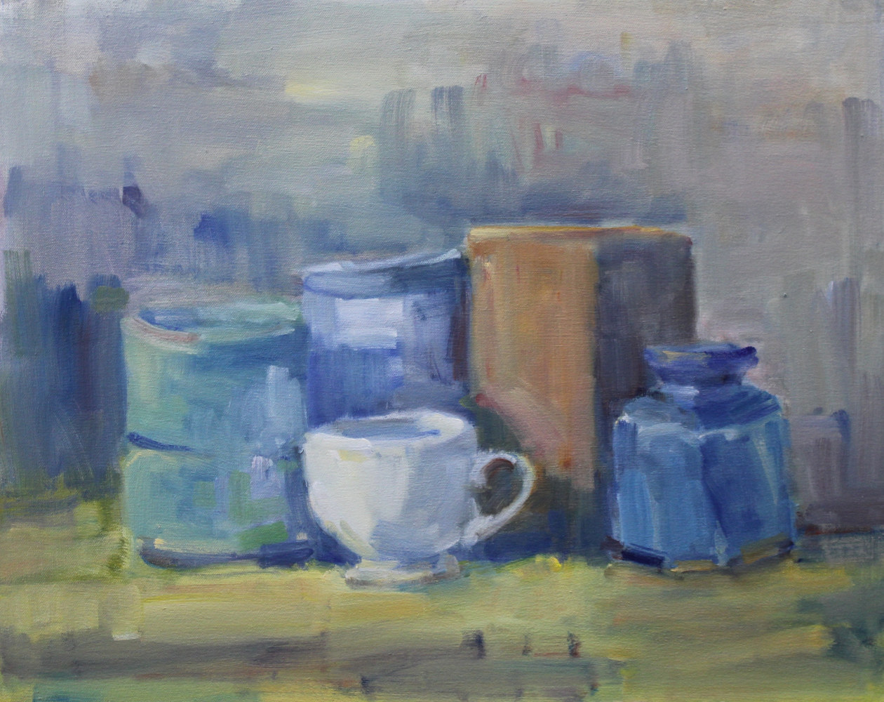 "White Cup with Blue Vase, oil on canvas, 16"" x 20"" by Susan Horn"