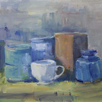 "Still Life With White Cup, oil on canvas, 16"" x 20"" by Susan Horn"