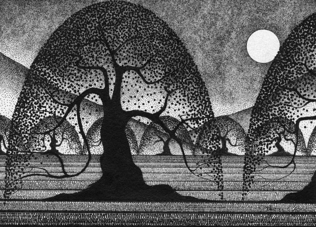 Drawing Full Moon Orchard by Lawrie  Dignan