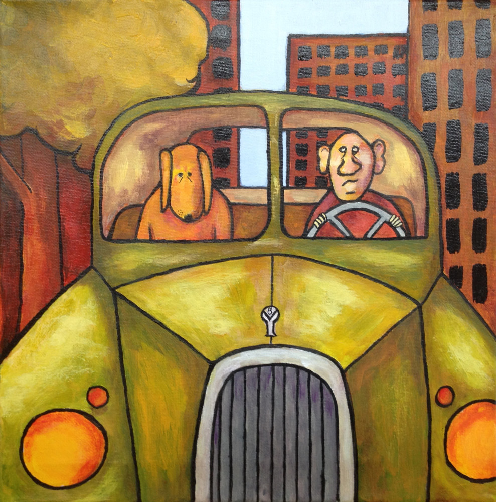 Acrylic painting Driving My Dog To The Vet by Rick Gillis